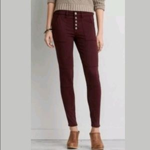 AEO Sateen Burgundy Skinny Jeggings